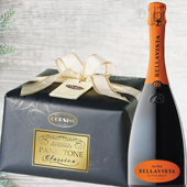 CHRISTMAS GREETINGS PACK: Panettone Premium Carta e Fiocco Classico - Bellavista Alma Cuv�e Brut Franciacorta